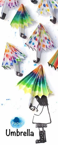 9308cc4bf1b Rainy day spring craft   Adorable decorated paper umbrellas for kids to cut  out and color