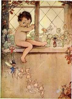 'Peter pan' par Mabel Lucie Attwell  Want to recreate this on ceramics, and put in muh rooms. So rad <3
