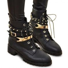 $19.56 Stylish Women's Black Studded Combat Boots With Lace-Up Design