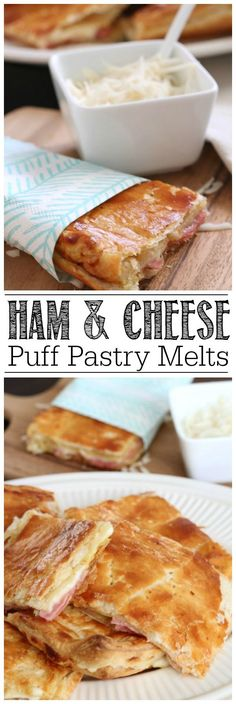 Take your grilled cheese up a notch with this ham and cheese melt recipe. SO good and can be customized with any filling that you would like! (Ham And Cheese Bread) Cheese Puffs, Ham And Cheese, Cheese Bread, Soup And Sandwich, Sandwich Recipes, Deli Sandwiches, Lunch Recipes, Puff Pastry Recipes, Puff Pastries