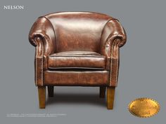 Chesterfield Fauteuil</br>Nelson fauteuil Antiek bruin
