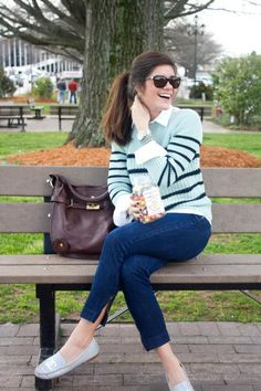 striped blue and Chanel shoes
