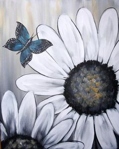 Whimsy Paint and Sip - paint blue flowers and yellow butterfly Tole Painting, Diy Painting, Painting & Drawing, Pallet Painting, Wine And Canvas, Fence Art, Paint And Sip, Pallet Art, Learn To Paint