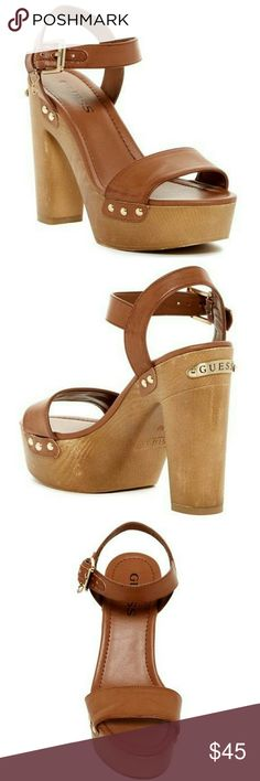 "Guess Zanie Platform Sandal Size 7,5M  Approx. 5"" heel, 2"" platform Sizing: True to size. Worn twice Guess Shoes Heels"