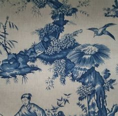 SCHUMACHER CHINOISERIE ASIAN Cathay Cotton Linen Toile Linen Fabric 10 yards Blue Taupe