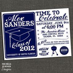 High School or College Graduation Party Invitation - BBQ - Printable