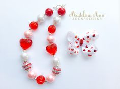 Valentine Chunky Necklace Girls Heart Necklace Pink and Red