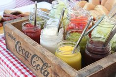 Fun topping and storage for condiments for a hotdog or burger bar