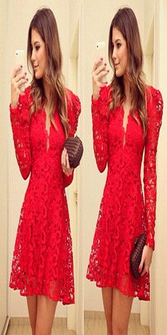 Fashion Long Sleeve V-neck Hollow Out Lace Dress #hair