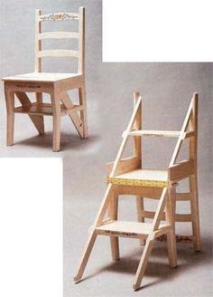 Build a Fold-Over Library Chair Make a comfortable, classic wooden chair that converts to a stepladder with these instructions, including a materials list and diagram. i was just looking for this plan/idea Furniture Projects, Furniture Plans, Furniture Making, Wood Furniture, Home Projects, Furniture Design, Adirondack Furniture, Diy Chair, Stool Chair