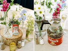 love this vintage/retro centerpiece with wood rounds, vintage tins and even an old coffee pot!