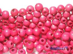 50x Round Wooden Beads 6 mm  Pink by KolibriBeadSupplies on Etsy