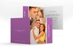 "Hochzeitseinladung ""Classic"" Quadratische Klappkarte lila"