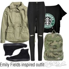 Emily Fields inspired outfit/PLL by tvdsarahmichele on Polyvore featuring H&M, Ally Fashion, Converse, Billabong, women's clothing, women's fashion, women, female, woman and misses