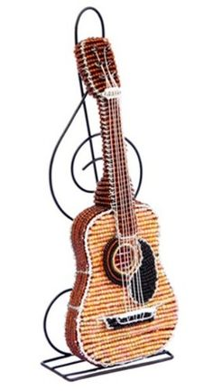 Acoustic Guitar Sculpture Treble Clef Stand Beaded Wire Hand Crafted Beadworx | eBay