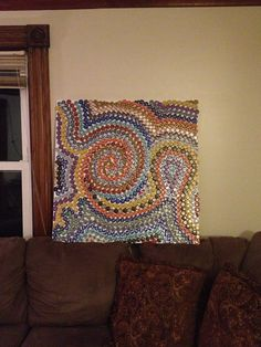 Beer bottle cap canvas art! For hubby's future man cave.