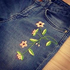 Hand embroidery on denim