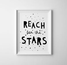 Reach for the stars nursery art in black and white features a hand illustrated font. This is a professional Giclee print on thick archival white cotton paper using long lasting ultrachrome giclee inks. Many sizes available. Edge to edge printing. Ships flat in a non-rigid envelope in 3-6 business days. Frame and mat not included. Made in U.S.A  CUSTOM COLORS: If you like a different color than shown here, you can choose from 30 gorgeous colors (see photo 2). You can change up to ONE color in…