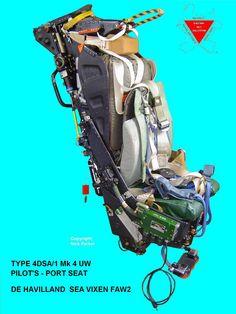 This is a Martin Baker Pilots Ejection Seat from a De Havilland Sea Vixen. Fighter Aircraft, Fighter Jets, Airplane Seats, Ejection Seat, Landing Gear, Royal Air Force, Star Citizen, Vixen, Military Aircraft