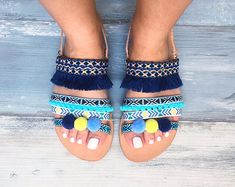 Handmade bohemian sandals, 100% genuine Greek leather, Veronica The Veronica sandals are decorated with blue ribbons in different shades, turquoise, light blue and dark blue, pom pom and fringes! They suit wonderfully with jeans and gives a casual touch to your outfit. Chart sizes