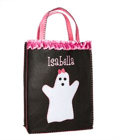 Black & Pink Girly Ghost Personalized Trick-or-Treat Bag by Personalized Planet #zulily #zulilyfinds