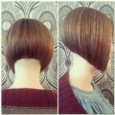 silky smooth shaved nape on this hot angled bob. Shaved Bob, Shaved Hair Cuts, Shaved Nape, Sexy Bob Haircut, Modern Bob Haircut, Short Angled Bobs, Inverted Bob, Stacked Bob Hairstyles, New Hair Do