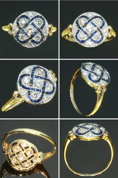 1920's Art Deco Blue Sapphire and Diamond Ring set in 18k Yellow Gold. Vivid six-legged star (asterism).