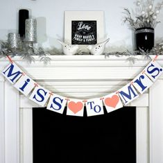 Bridal Shower Banner / From Miss to Mrs. / Bridal Shower Decor / Bachelorette Party / Bride to Be Banner / Coral - Navy Blue / Bridal Shower