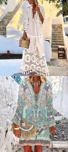 Boho Style Lace Dresses For Woman - Abiti estivi Boho Chic, Boho Style, Mode Outfits, Dress Outfits, Boho Fashion, Fashion Outfits, Womens Fashion, Summer Outfits, Summer Dresses