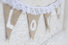 burlap and lace customizable bunting banner by lovepeppermintplum, $18.50