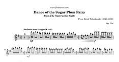 Sheet music for Dance of the Sugar Plum Fairy (Dance of the Sugarplum Fairy; Danse de la Fée-Dragée) from The Nutcracker Suite by Pyotr Ilyich Tchaikovsky, arranged for Flute and Piano. Free printable PDF score and MIDI track.