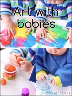 Art with babies , great idea for a fun baby/toddler activity. #crafts #baby