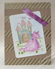 InvisiblePinkCards: Lawn Fawn Critters Ever After coloured with Tim Holtz Distress inks and a watercolour brush