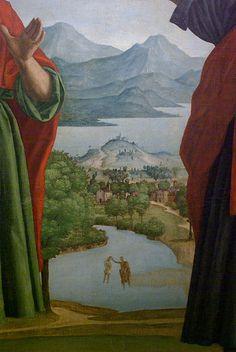 Girolamo Dai Libri, particolare della Madonna della quercia (1533 circa). Veduta del basso lago, Peschiera del Garda e delle prealpi bresciane. In primo piano il lago del Frassino oppure il fiume Mincio.