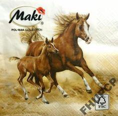 serwetki dekoracyjne MAKI 33x33 1kpl㴠 szt konie