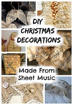 6 Christmas Decorations Made From Sheet Music – Craft Gossip Sheet Music Ornaments, Music Christmas Ornaments, Sheet Music Crafts, Christmas Sheet Music, Christmas Crafts To Make, Paper Ornaments, Christmas Projects, Christmas Decorations, Christmas Things
