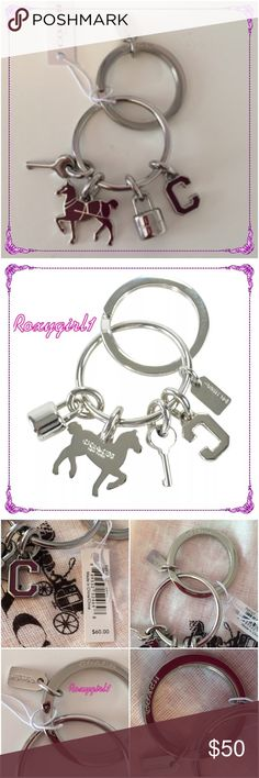 "COACH Multi Mix Charm Key Chain #65167 COACH  Horse & Lock Multi Mix Charm KeyChain ~ FOB #65167  Brand New WITH Tag + Coach dustbag  MSRP: $60 + Tax   COLOR: Silver/Fuchsia  Horse, letter C,  Lock & Key charms Mini COACH logo tag 1 1/4""attached split key ring  Length 3""   Includes gift receipt and gift box upon request ❌NO TRADE❌ Coach Accessories Key & Card Holders"