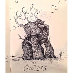 Love this #nature #golem #penandink #illustration by @heybilljoyce. So much cool detail in this #sketchbook #drawing, as is the case with all of Bill's work. You should really go check out his posts! #CreativeAirship