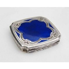"""This is a beautiful antique Italian silver engraved box, decorated with rich blue enamel. It is stamped """"Italy""""."""