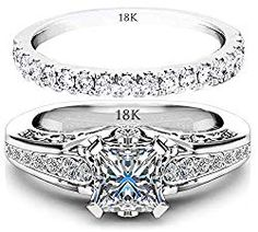 1086da05ad50 AndreAngel Ring Set Wedding Women Engagement White Gold 18K Cubic Zirconia  Pave CZ Lab Diamond Stones 6 mm AAA Unique Cute Princess Cut Marriage Bridal  ...