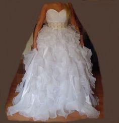 Ball-Gown Sweetheart Chapel Train Organza Satin Wedding Dress With Beading Cascading Ruffles (002004753) - JJsHouse