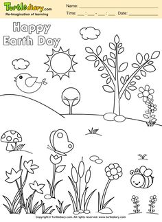 Happy Earth Day Planet Coloring Page Kids Crafts TurtleDiary