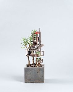 Houseplants are made even better with tiny treehouses