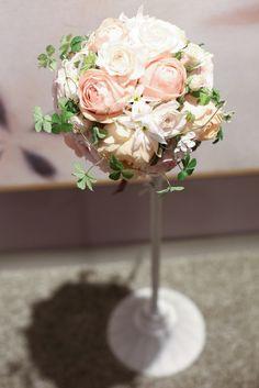 淡いピンク色のラウンドブーケ http://relier-fleurs.com/