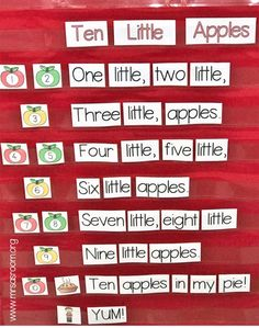 Ten Little Apples – Books and Giggles Ten Little Apples Poetry is a fantastic learning tool in preschool and kindergarten! Come learn how to use it in your classroom with this adorable counting poem that will fit right into your apple theme! Preschool Apple Activities, Creative Curriculum Preschool, Preschool Apple Theme, Fall Preschool, Preschool Songs, Preschool Literacy, Preschool Apples, Preschool Activities, Children Activities