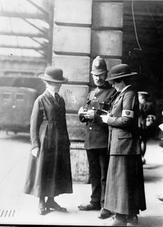 First women police officers in Britain during WW1 to monitor female behavior near hostels & factories to prevent ignition sources from entering munitions & chemical factories.