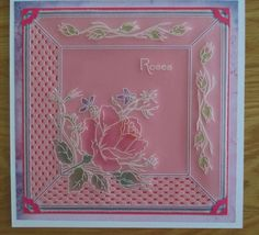 This is my attempt at a Groovi design by Josie Davidson. Parchment Cards, I Card, Birthday Cards, Decorative Boxes, Card Making, Plates, Rose, Crafts, Design