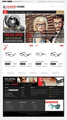 Glasses #OpenCart #Template is specially designed for glasses, cosmetic and fashion stores. Great colors combination. All sub pages are customized. It is very nice with its clean and professional look.  http://www.templatemela.com/glasses-opencart-template.html