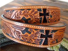 Men's Western Leather Belts with Crosses Custom Leather Belts, Leather Working Patterns, Leather Projects, Leather Crafts, Western Belts, Western Wear, Tandy Leather, Hobbies For Men, Beautiful Gifts
