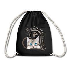 SpreadCats | Mein Herz sagt miau Katze Kätzchen Geschenk - Turnbeutel. SpreadCats | Mein Herz sagt miau Katze Kätzchen Geschenk - Frauen Premium T-Shirt.Süßes Baby Kätzchen, Katze guckt raus. Schönes Design für Katzenbesitzer, Katzen Freunde und Katzen Liebhaber. Schreib etwas dazu und erzeuge so ein persönliches Geschenk. Mein Herz sagt miau. #katze #Kätzchen #katzenliebhaber #cat #cute Cat Design, Drawstring Backpack, Backpacks, Cats, Gifts For Cats, Sports Activities, Baby Kitty, Nice Designs, Cinch Bag